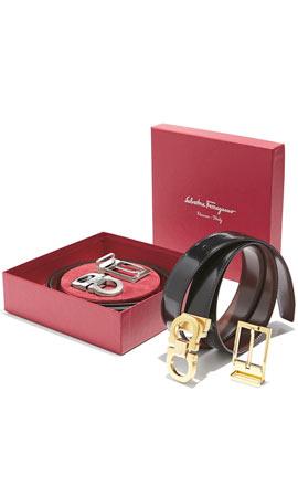 Salvatore Ferragamo Reversible Leather Belt Boxed Gift Set