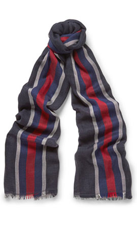 Gucci Striped Cotton and Silk-Blend Scarf