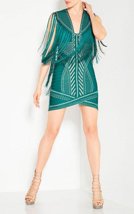 Herve Leger 2016 Resort Collection Fringe Dress