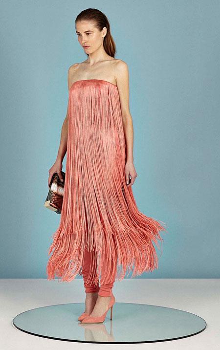 Tamara Mellon 2016 Resort Collection Fringe Dress Coral