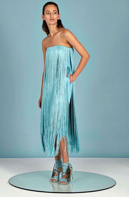 Tamara Mellon 2016 Resort Collection Fringe Dress Blue