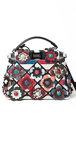 Peekaboo Mini Floral Patchwork Python & Leather Satchel