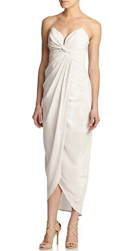 Tell Me Seer Strapless Pleated Silk Gown