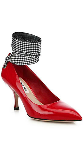 Patent Leather Ankle-Tie Pumps