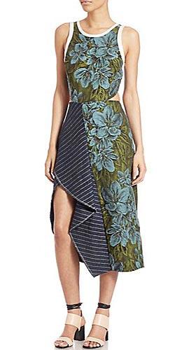 Cascading Floral & Pinstripe Linen Dress