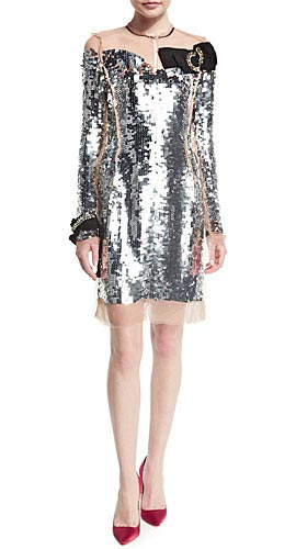 Long-Sleeve Sequined Silk Dress