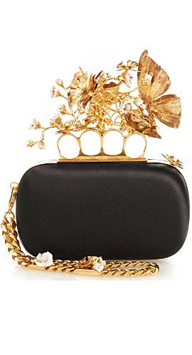Butterfly Knuckle-duster satin clutch