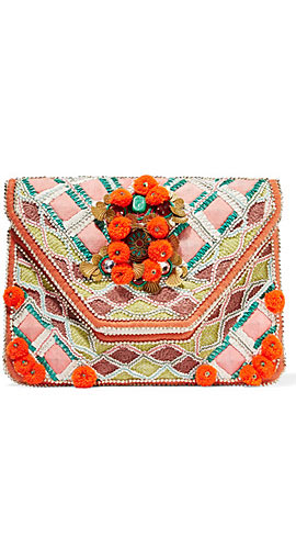 Margot embellished cotton-canvas clutch