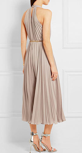 Embellished pleated georgette jumpsuit