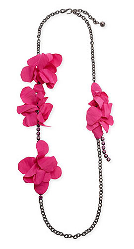 Long Crystal Chain Flower Necklace