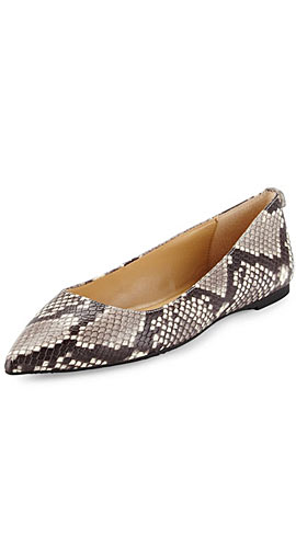 Arianna Snake-Print Pointed-Toe Flat