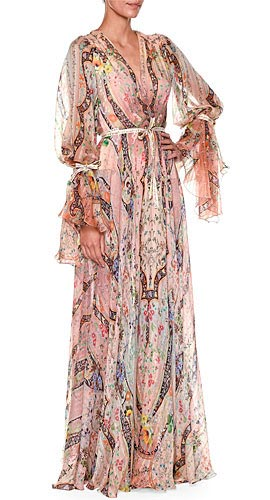 Cinched Long-Sleeve Paisley-Print Silk Gown