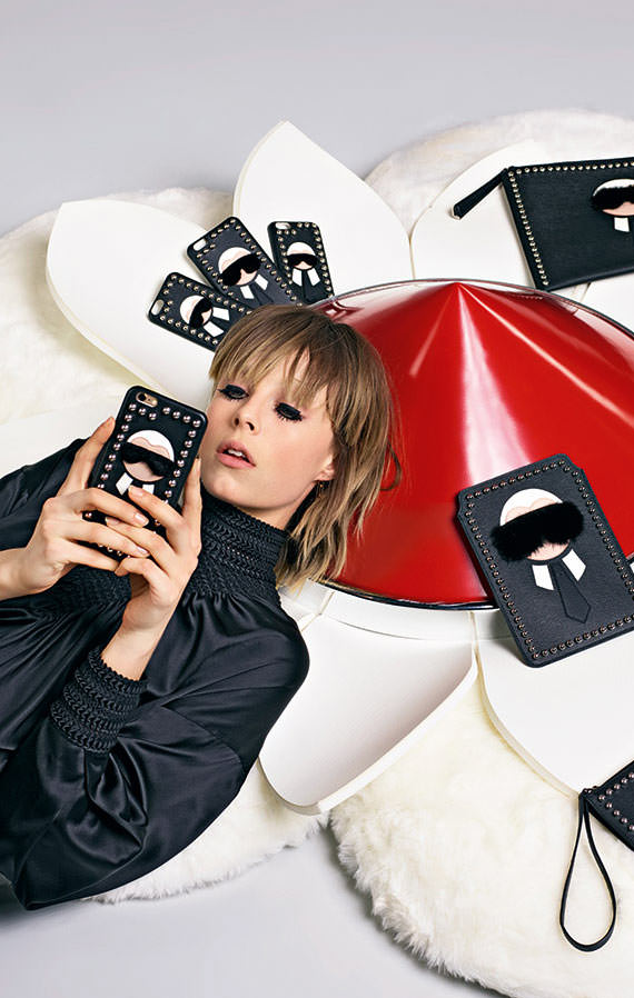 Fendi Karl Fur-Trimmed iPhone 6 Cover Ad Campaign