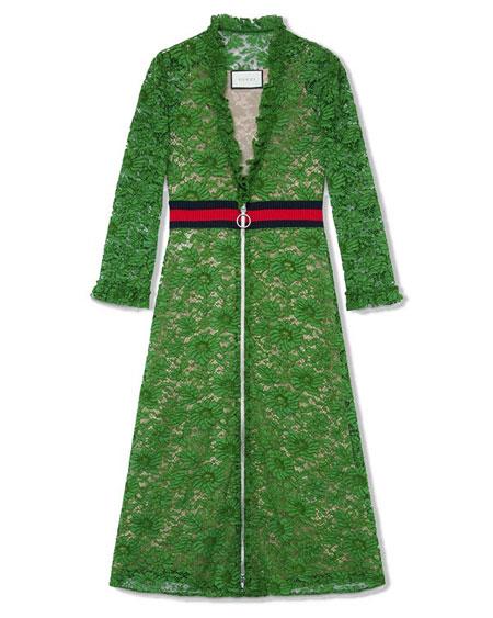 Gucci Knit Lace Dress w/Web Net Waist
