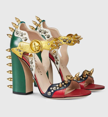 Gucci Malin Spiked Leather Sandals