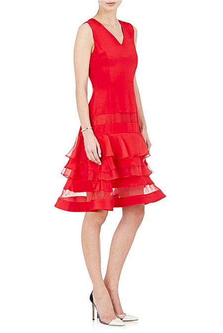Valentine Day Outfit Ideas Charles Youssef Crepe Flared Dress