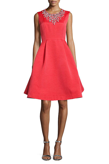 Valentine Day Outfit Ideas kate spade new york sleeveless embellished crewneck fit & flare Dress