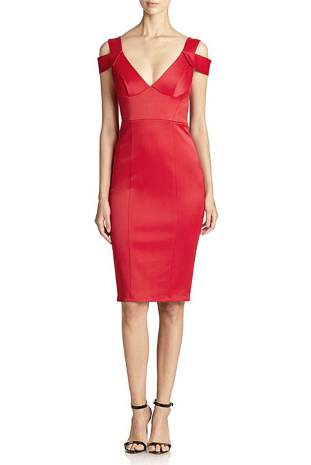 Valentine Day Outfit Ideas ABS Satin V-Neck Sheath
