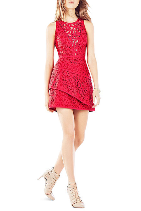 Valentine Red Dress BCBGMAXAZRIA Hanah Tiered Dress