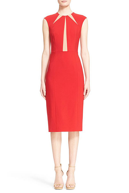 Valentine Day Red Dress Michael Kors Illusion Stretch Wool Sheath Dress