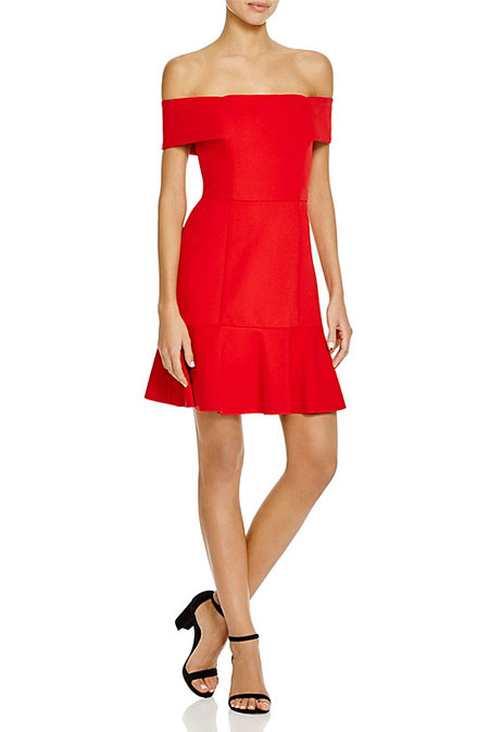 Valentine Day Red DressNICHOLAS N/NICHOLAS Ponte Off-Shoudler Mini Dress