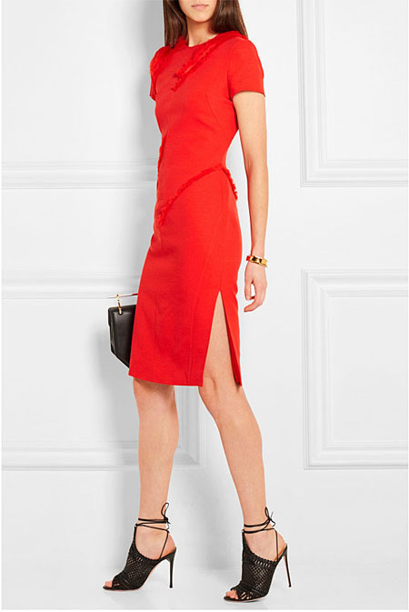 Valentine Day Outfit Ideas Altuzarra Strider fringe-trimmed slub stretch-crepe dress