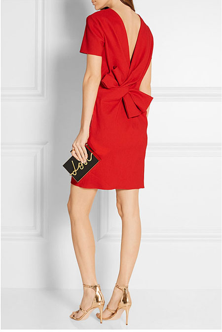 Valentine Red Dress Lanvin Bow-embellished stretch linen-blend mini dress