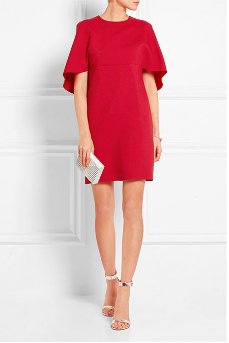 Valentine Day Red Dress Outfit Valentino Cape-effect wool and silk-blend crepe mini dress