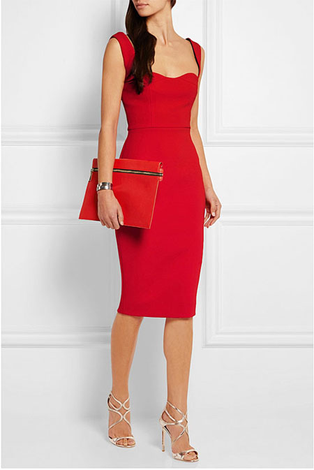 Valentine Day Red Dress Outfit Victoria Beckham Crepe dress