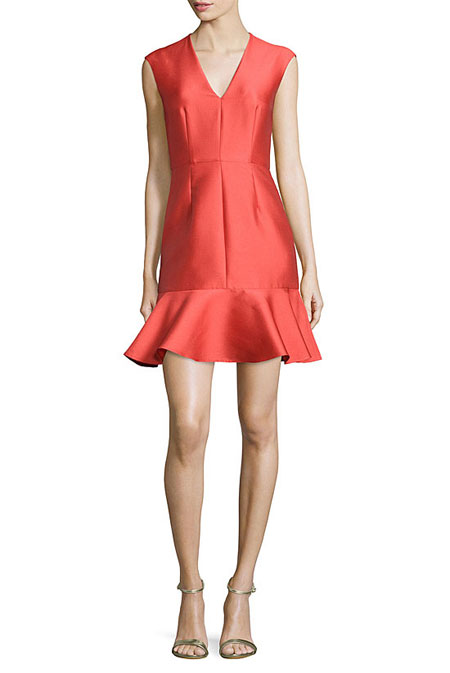 Valentine Day Outfit Ideas Carven Satin V-Neck Fit-and-Flare Dressor Valentine