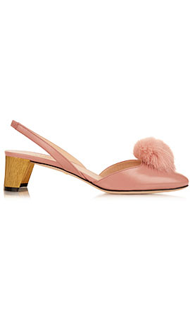 Gucci Mink-fur pompom leather pumps