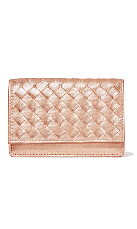 Bottega Veneta Metallic intrecciato textured-leather cardholder