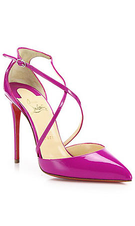 Christian Louboutin Blake Patent Leather Crisscross Sandals