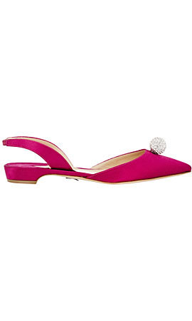 Paul Andrew Satin Crystal Ball Slingback Flats