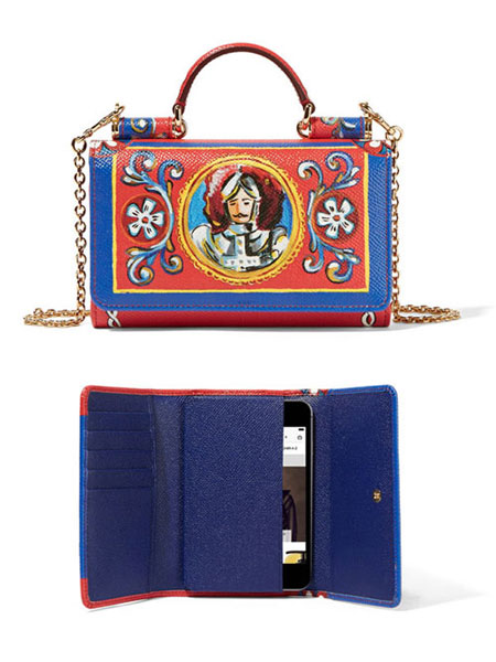 Dolce and Gabbana Sicily printed textured-leather iPhone wallet