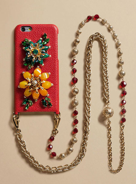 Dolce and Gabbana Red Embellished iPhone Case with Chain Strap
