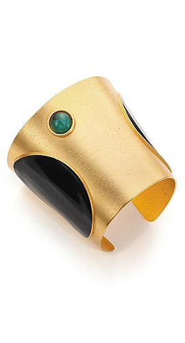 Paula Mendoza Tapered Emerald & Enamel Cuff Bracelet
