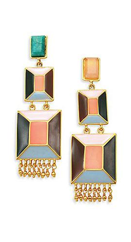 Paula Mendoza Faceted Emerald, Pink Quartz & Enamel Drop Earrings