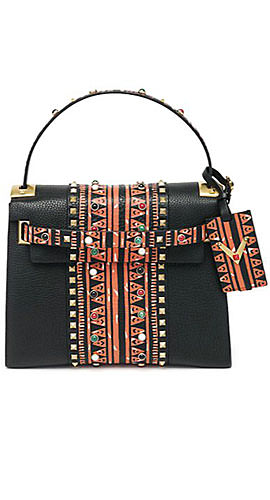 Valentino Rockstud Abstract-Print Leather Satchel