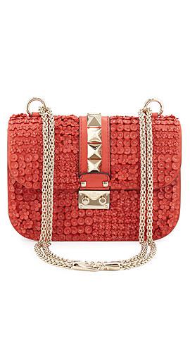 Valentino Glam Lock Leather Flower Shoulder Bag