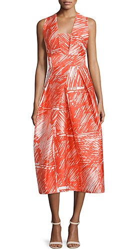 Milly Sleeveless Printed Midi Cocktail Dress