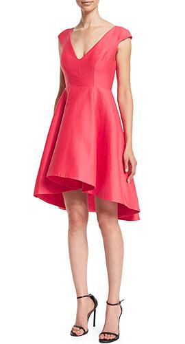 Halston Cap-Sleeve V-Neck Fit & Flare Dress