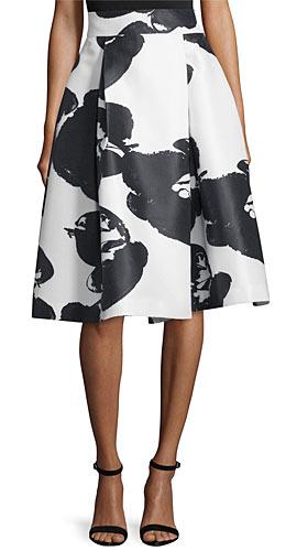 Halston Orchid-Print High-Waist Pleated Skirt