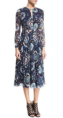 Burberry Prorsum Long-Sleeve Floral Tie-Dye Midi Dress