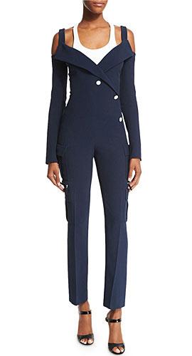 Mugler Long-Sleeve Cold-Shoulder Crepe Jumpsuit