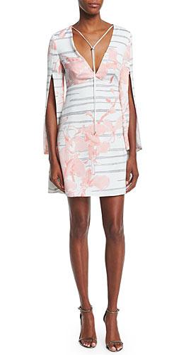 Halston Heritage Split-Sleeve Floral-Print Sheath Dress