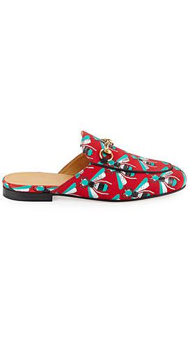 Gucci Princetown Jacquard Horsebit Mule Slipper Flat