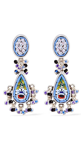 Etro Silver-plated enamel earrings