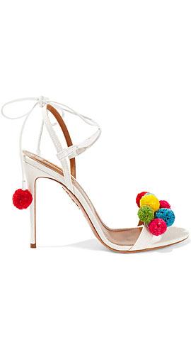 Aquazzura Pompom-embellished raffia sandals