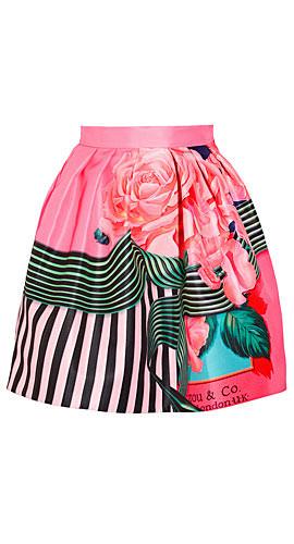Mary Katrantzou Algernon floral-print faille mini skirt